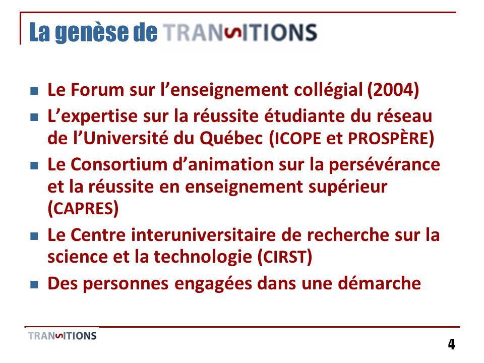 4 La genèse de Le Forum sur lenseignement collégial (2004) Lexpertise sur la réussite étudiante du réseau de lUniversité du Québec ( ICOPE et PROSPÈRE ) Le Consortium danimation sur la persévérance et la réussite en enseignement supérieur ( CAPRES ) Le Centre interuniversitaire de recherche sur la science et la technologie ( CIRST ) Des personnes engagées dans une démarche