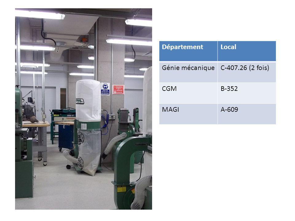 DépartementLocal Génie mécaniqueC-407.26 (2 fois) CGMB-352 MAGIA-609