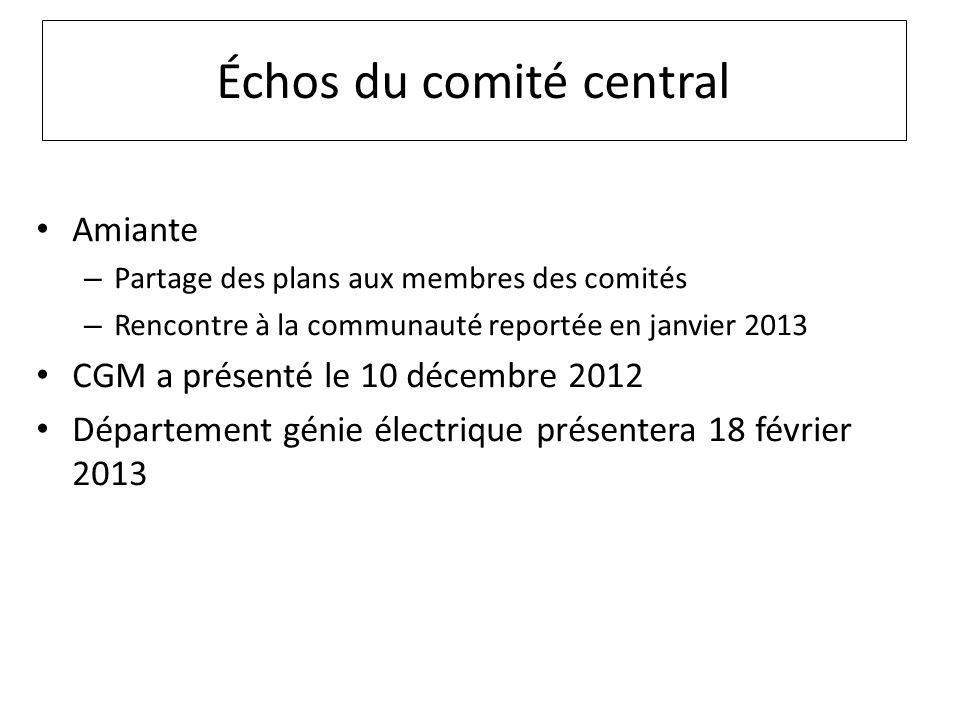 Échos du comité central Amiante – Partage des plans aux membres des comités – Rencontre à la communauté reportée en janvier 2013 CGM a présenté le 10 décembre 2012 Département génie électrique présentera 18 février 2013