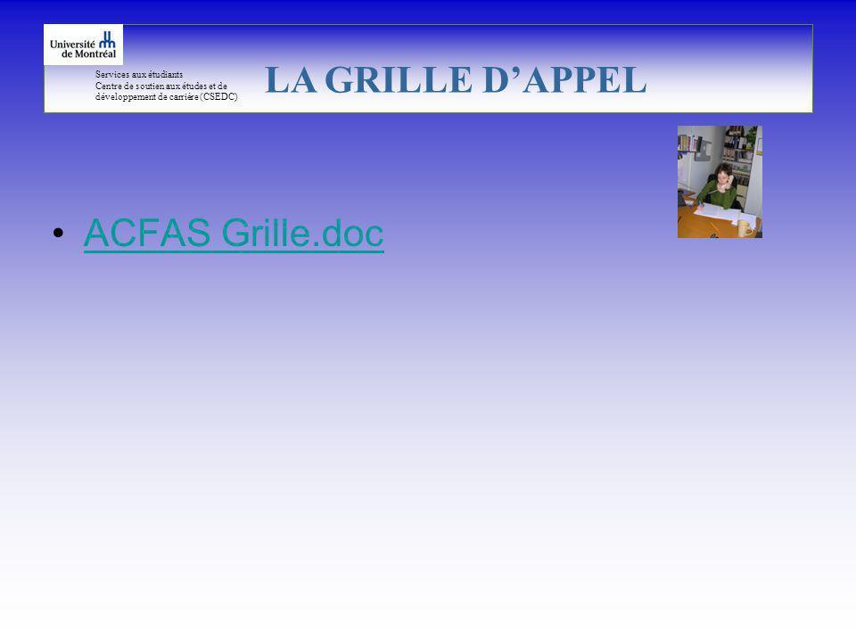 Services aux étudiants Centre de soutien aux études et de développement de carrière (CSEDC) ACFAS Grille.doc LA GRILLE DAPPEL
