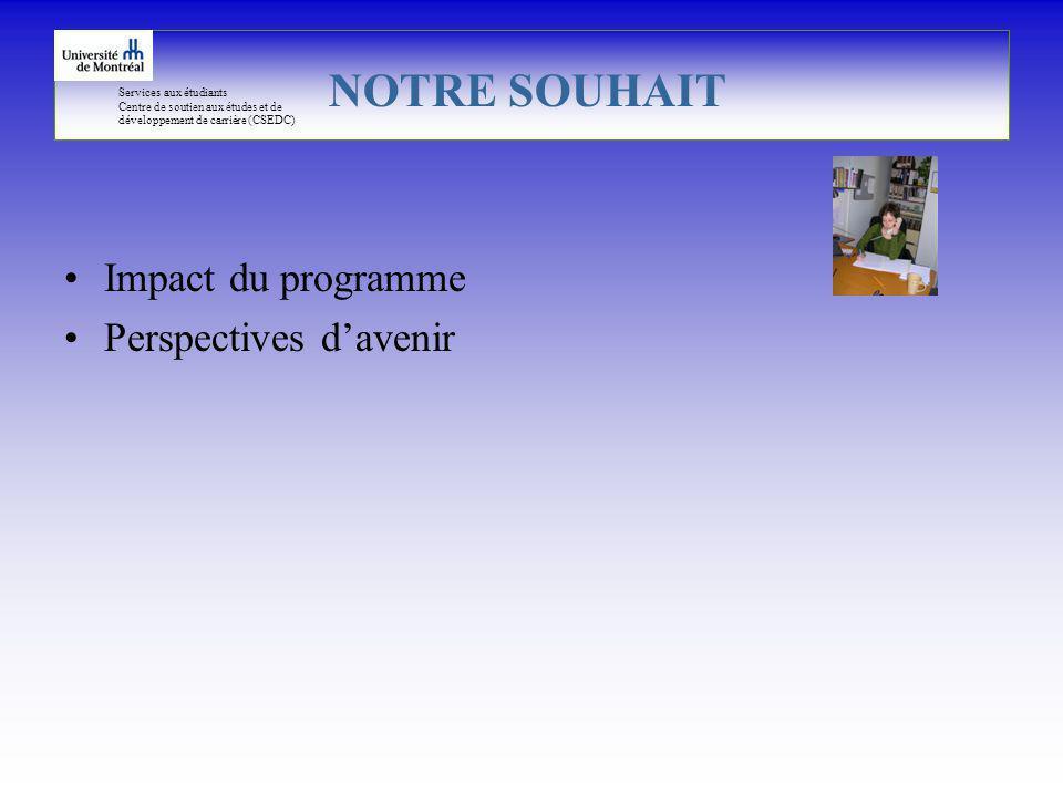 Services aux étudiants Centre de soutien aux études et de développement de carrière (CSEDC) Impact du programme Perspectives davenir NOTRE SOUHAIT