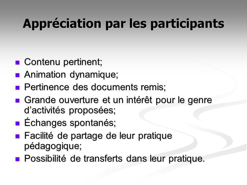 Appréciation par les participants Contenu pertinent; Contenu pertinent; Animation dynamique; Animation dynamique; Pertinence des documents remis; Pert