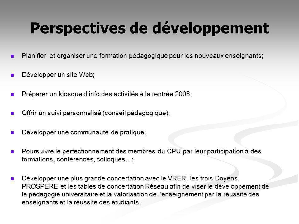Perspectives de développement Planifier et organiser une formation pédagogique pour les nouveaux enseignants; Planifier et organiser une formation péd