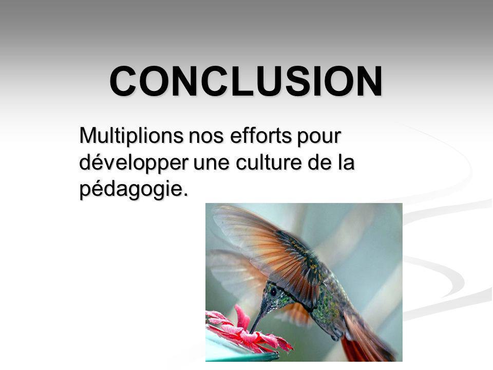 CONCLUSION Multiplions nos efforts pour développer une culture de la pédagogie.