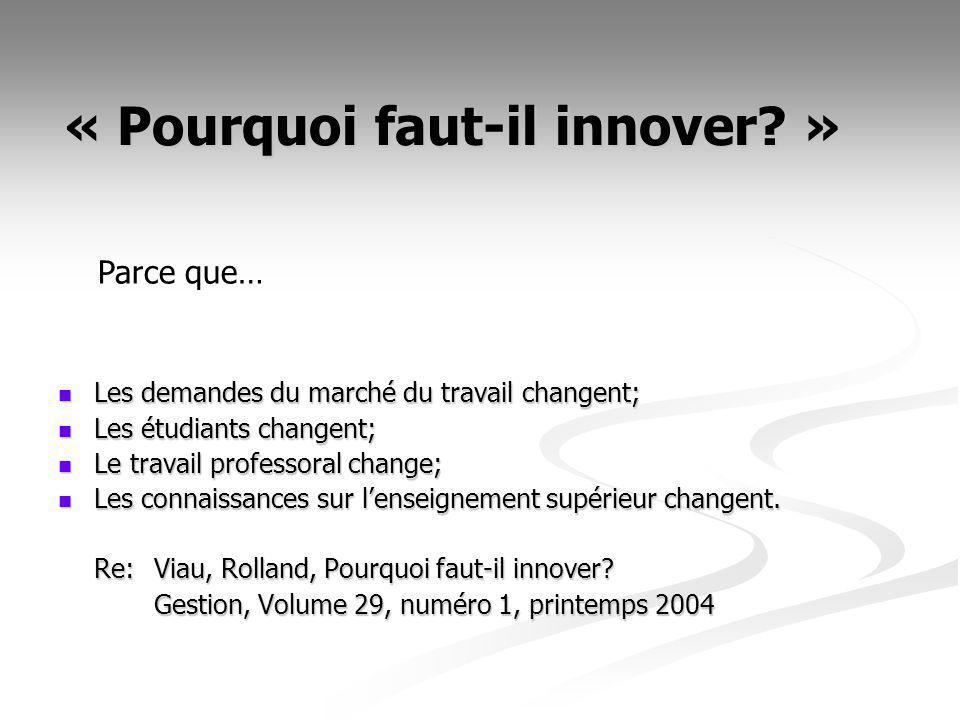 « Pourquoi faut-il innover? » Les demandes du marché du travail changent; Les demandes du marché du travail changent; Les étudiants changent; Les étud