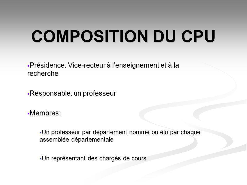 COMPOSITION DU CPU Présidence: Vice-recteur à lenseignement et à la recherche Présidence: Vice-recteur à lenseignement et à la recherche Responsable: