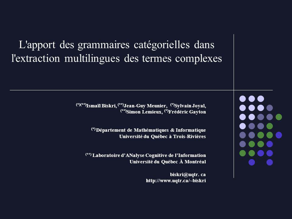 L apport des grammaires catégorielles dans l extraction multilingues des termes complexes (*)(**) Ismaïl Biskri, (**) Jean-Guy Meunier, (*) Sylvain Joyal, (**) Simon Lemieux, (*) Frédéric Gayton (*) Département de Mathématiques & Informatique Université du Québec à Trois-Rivières (**) Laboratoire dANalyse Cognitive de lInformation Université du Québec À Montréal biskri@uqtr.