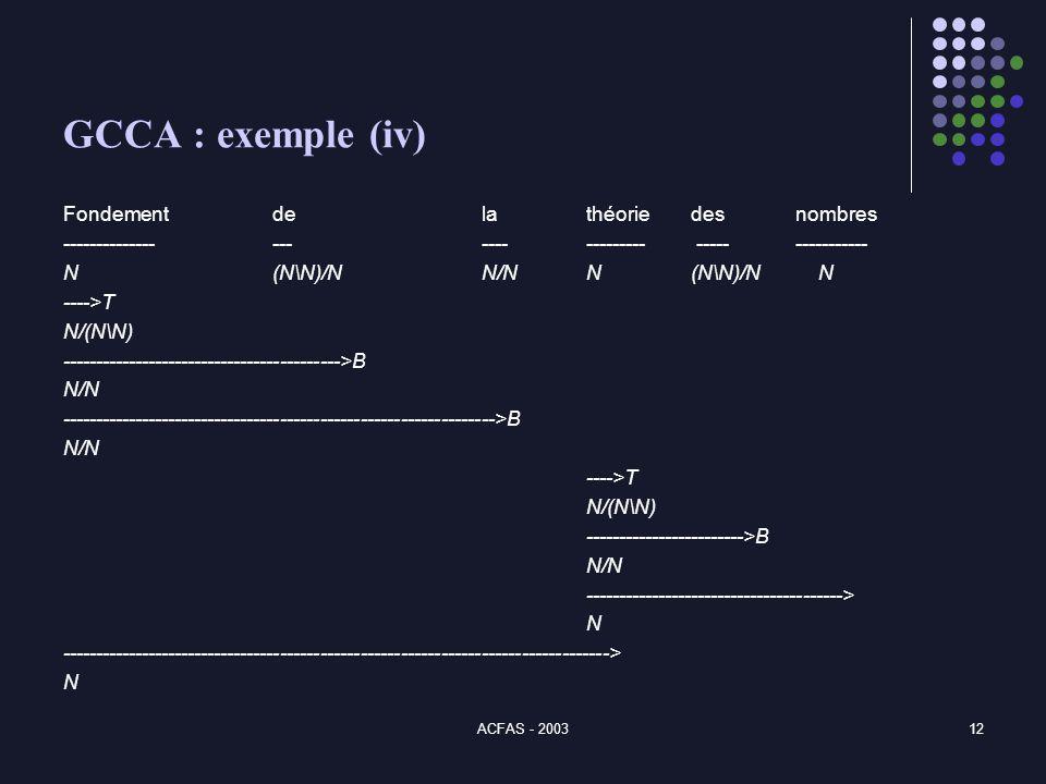 ACFAS - 200312 GCCA : exemple (iv) Fondement de la théorie desnombres -------------- ---------------- ---------------- N(N\N)/NN/NN(N\N)/N N ---->T N/(N\N) ------------------------------------------>B N/N ----------------------------------------------------------------->B N/N ---->T N/(N\N) ------------------------>B N/N ---------------------------------------> N ----------------------------------------------------------------------------------> N