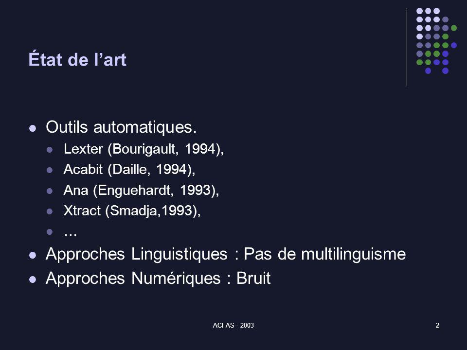 ACFAS - 20032 État de lart Outils automatiques.
