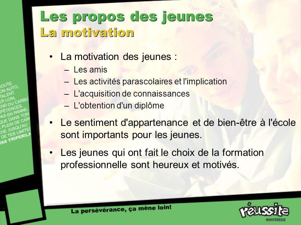 Les propos des jeunes La motivation La motivation des jeunes : –Les amis –Les activités parascolaires et l'implication –L'acquisition de connaissances