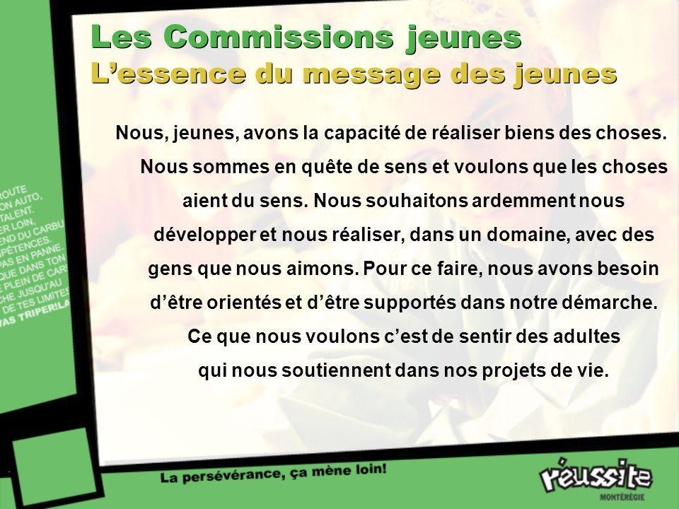 Les Commissions jeunes Lessence du message des jeunes Nous, jeunes, avons la capacité de réaliser biens des choses. Nous sommes en quête de sens et vo