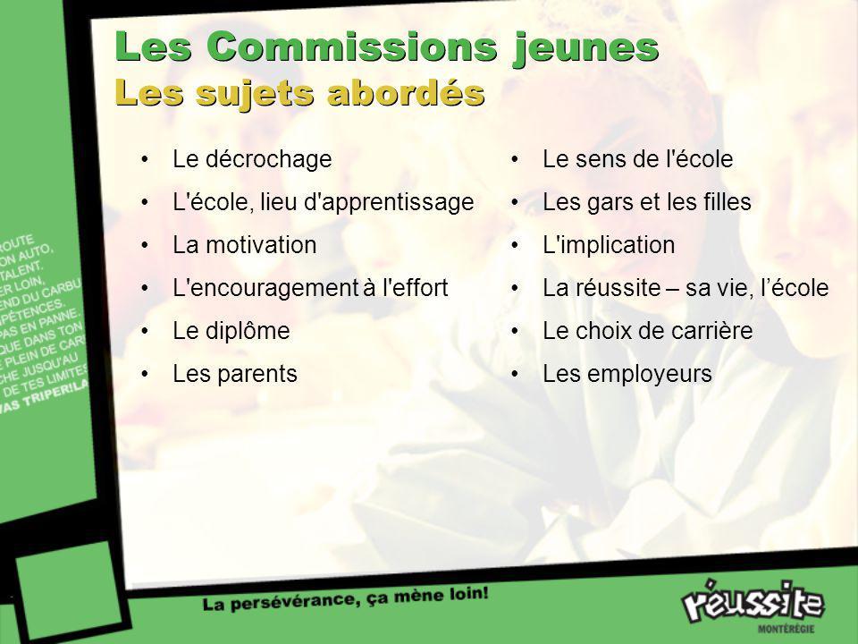 Les Commissions jeunes Les sujets abordés Le décrochage L'école, lieu d'apprentissage La motivation L'encouragement à l'effort Le diplôme Les parents