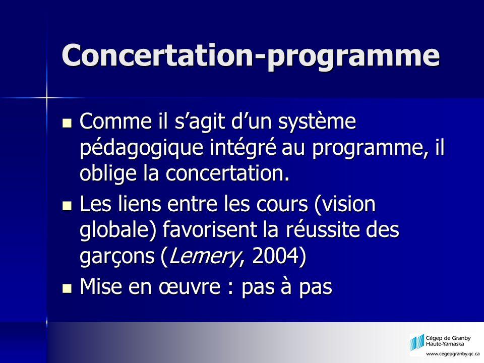 Concertation-programme Comme il sagit dun système pédagogique intégré au programme, il oblige la concertation. Comme il sagit dun système pédagogique