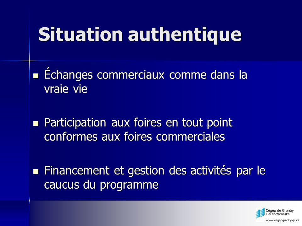 Situation authentique Échanges commerciaux comme dans la vraie vie Échanges commerciaux comme dans la vraie vie Participation aux foires en tout point