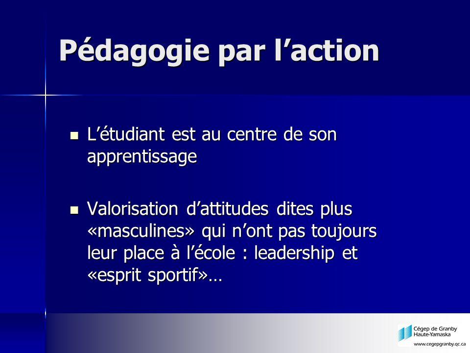 Pédagogie par laction Létudiant est au centre de son apprentissage Létudiant est au centre de son apprentissage Valorisation dattitudes dites plus «ma