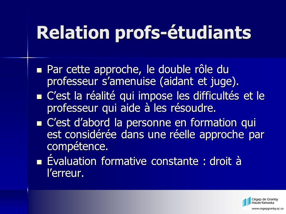 Relation profs-étudiants Par cette approche, le double rôle du professeur samenuise (aidant et juge).