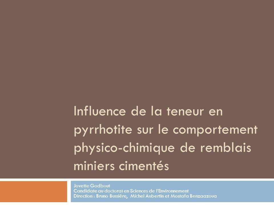 Influence de la teneur en pyrrhotite sur le comportement physico-chimique de remblais miniers cimentés Jovette Godbout Candidate au doctorat en Scienc