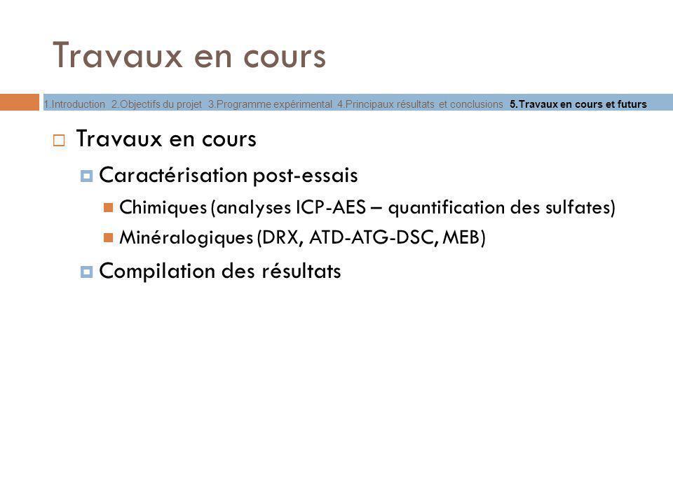 Travaux en cours Caractérisation post-essais Chimiques (analyses ICP-AES – quantification des sulfates) Minéralogiques (DRX, ATD-ATG-DSC, MEB) Compila
