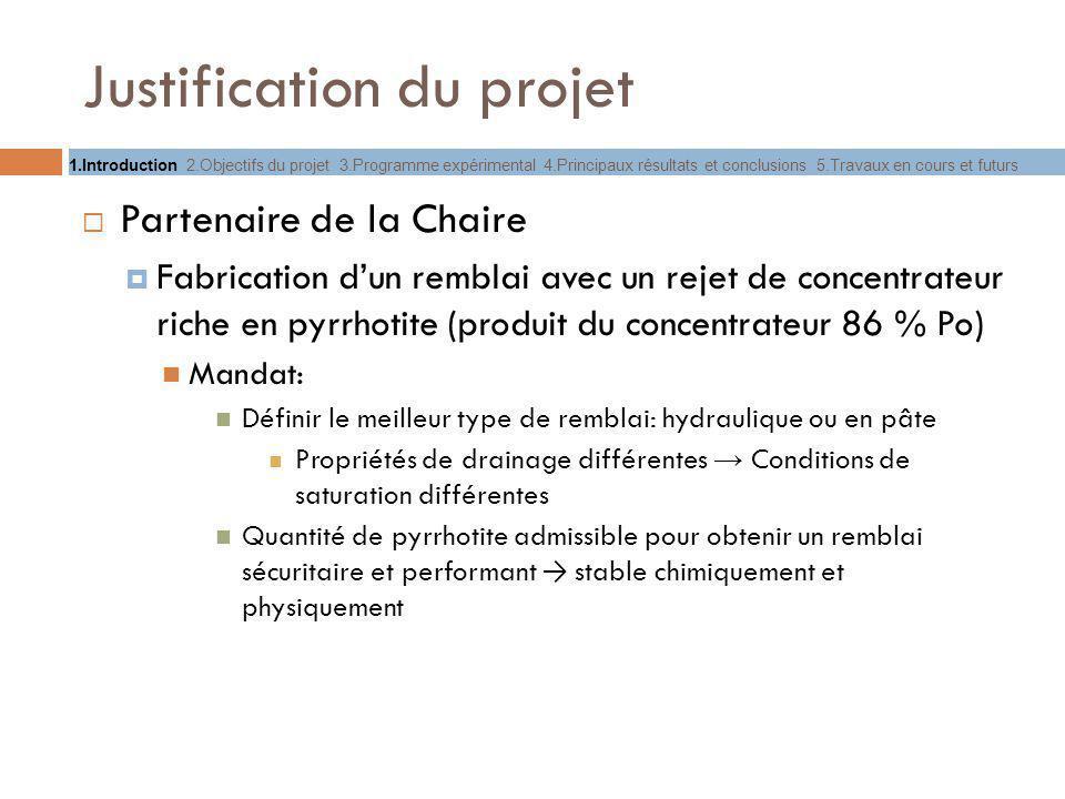 Justification du projet Partenaire de la Chaire Fabrication dun remblai avec un rejet de concentrateur riche en pyrrhotite (produit du concentrateur 8