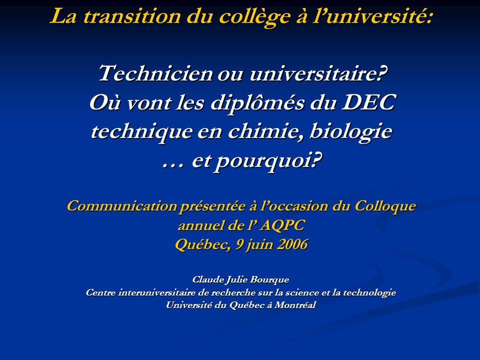 La transition du collège à luniversité: Technicien ou universitaire.