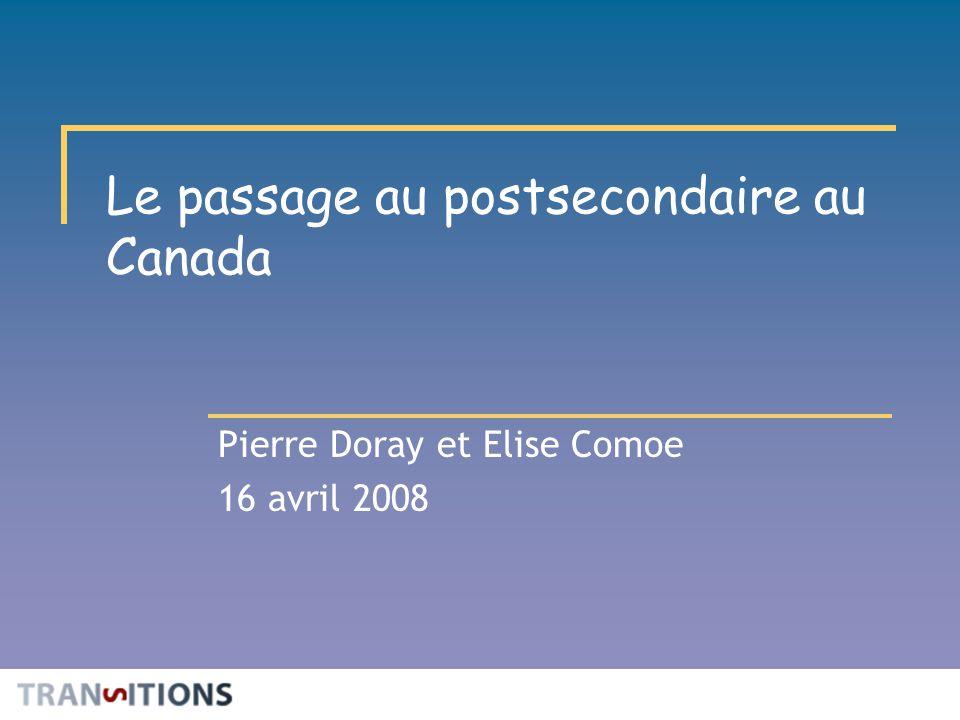 Le passage au postsecondaire au Canada Pierre Doray et Elise Comoe 16 avril 2008