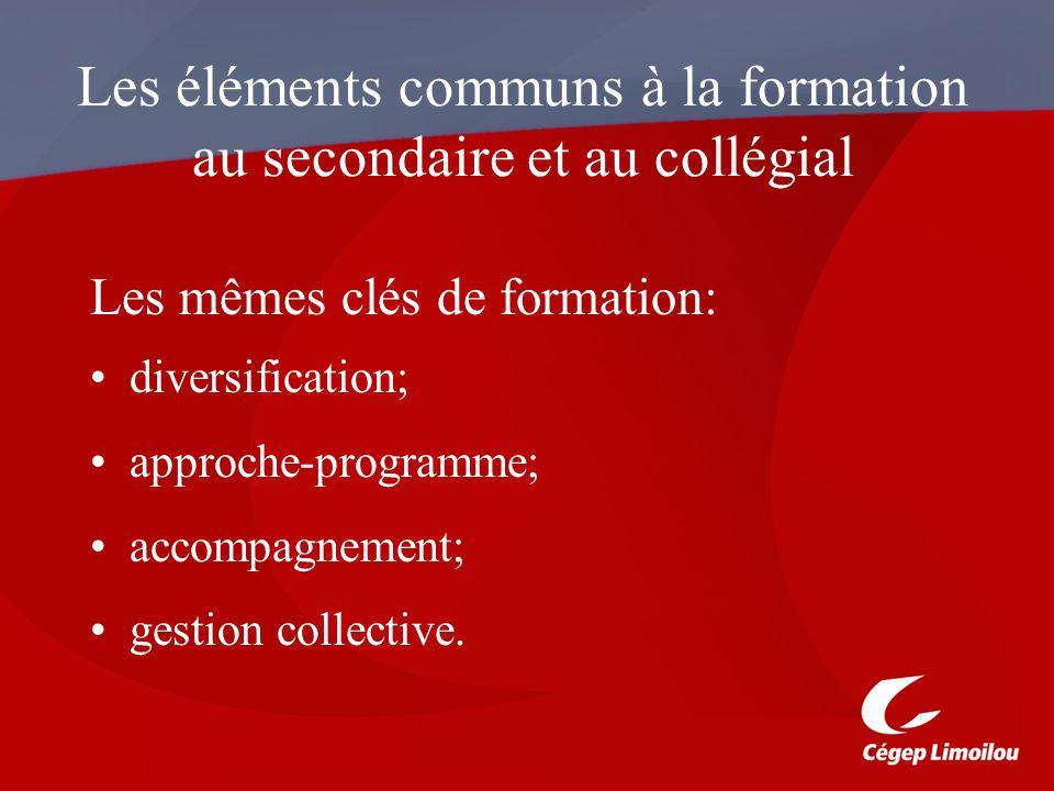 Les éléments communs à la formation au secondaire et au collégial Les mêmes clés de formation: diversification; approche-programme; accompagnement; gestion collective.