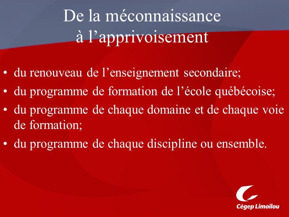 De la méconnaissance à lapprivoisement du renouveau de lenseignement secondaire; du programme de formation de lécole québécoise; du programme de chaqu