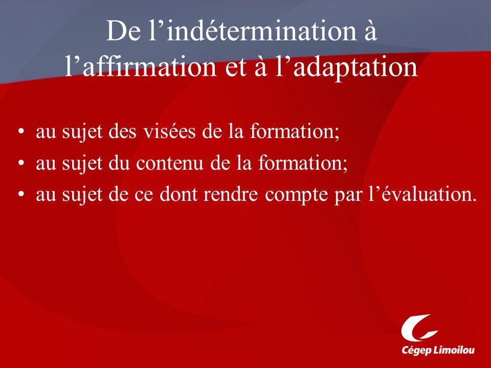 De lindétermination à laffirmation et à ladaptation au sujet des visées de la formation; au sujet du contenu de la formation; au sujet de ce dont rendre compte par lévaluation.