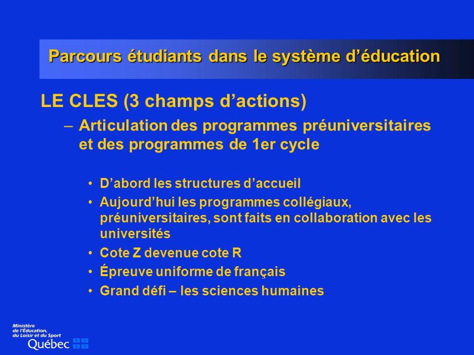 Parcours étudiants dans le système déducation LE CLES (suite) –Jonction des programmes techniques et des programmes universitaires Environ 22 % des diplômés du technique poursuivent à luniversité.