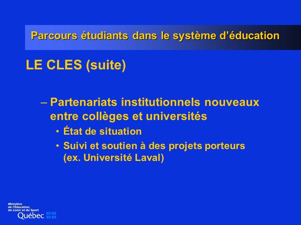 Parcours étudiants dans le système déducation LE CLES (suite) –Partenariats institutionnels nouveaux entre collèges et universités État de situation Suivi et soutien à des projets porteurs (ex.