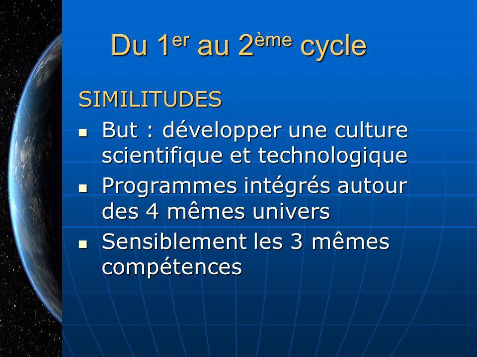Du 1 er au 2 ème cycle SIMILITUDES But : développer une culture scientifique et technologique But : développer une culture scientifique et technologiq