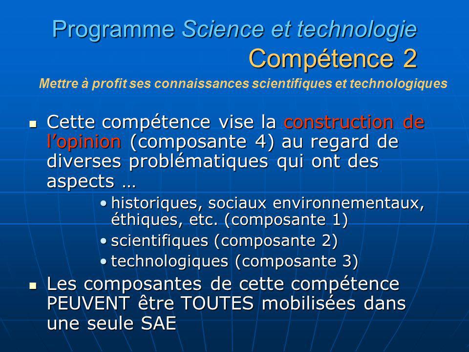 Programme Science et technologie Compétence 2 Cette compétence vise la construction de lopinion (composante 4) au regard de diverses problématiques qu