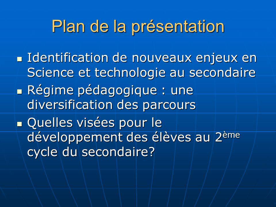 Plan de la présentation Identification de nouveaux enjeux en Science et technologie au secondaire Identification de nouveaux enjeux en Science et tech