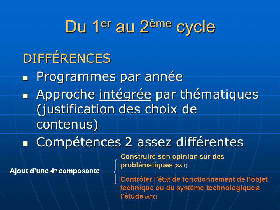 Du 1 er au 2 ème cycle DIFFÉRENCES Programmes par année Programmes par année Approche intégrée par thématiques (justification des choix de contenus) A