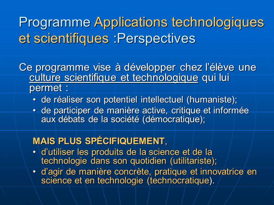 Programme Applications technologiques et scientifiques :Perspectives Ce programme vise à développer chez lélève une culture scientifique et technologi