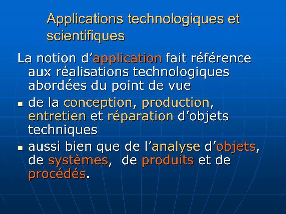 Applications technologiques et scientifiques La notion dapplication fait référence aux réalisations technologiques abordées du point de vue de la conc