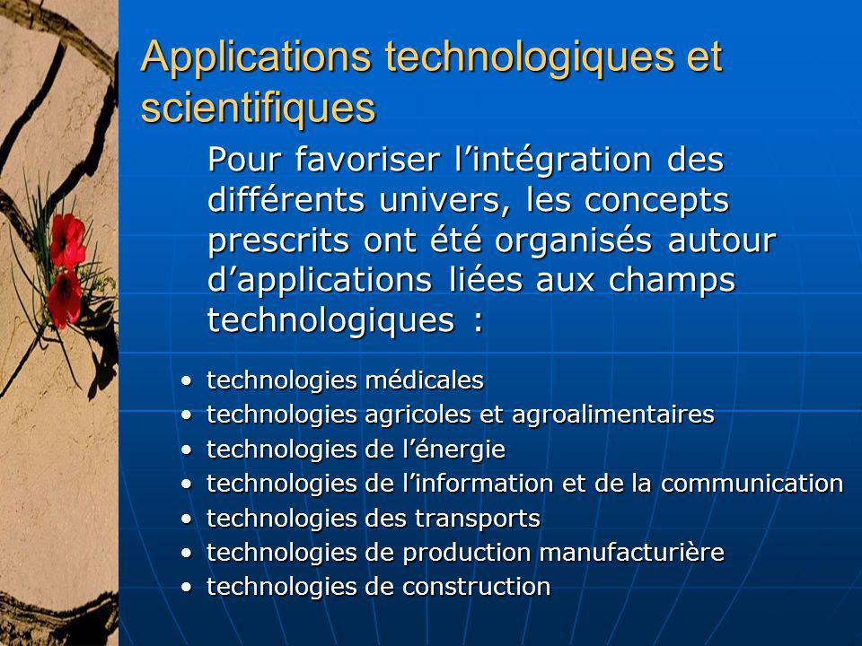 Applications technologiques et scientifiques Pour favoriser lintégration des différents univers, les concepts prescrits ont été organisés autour dappl