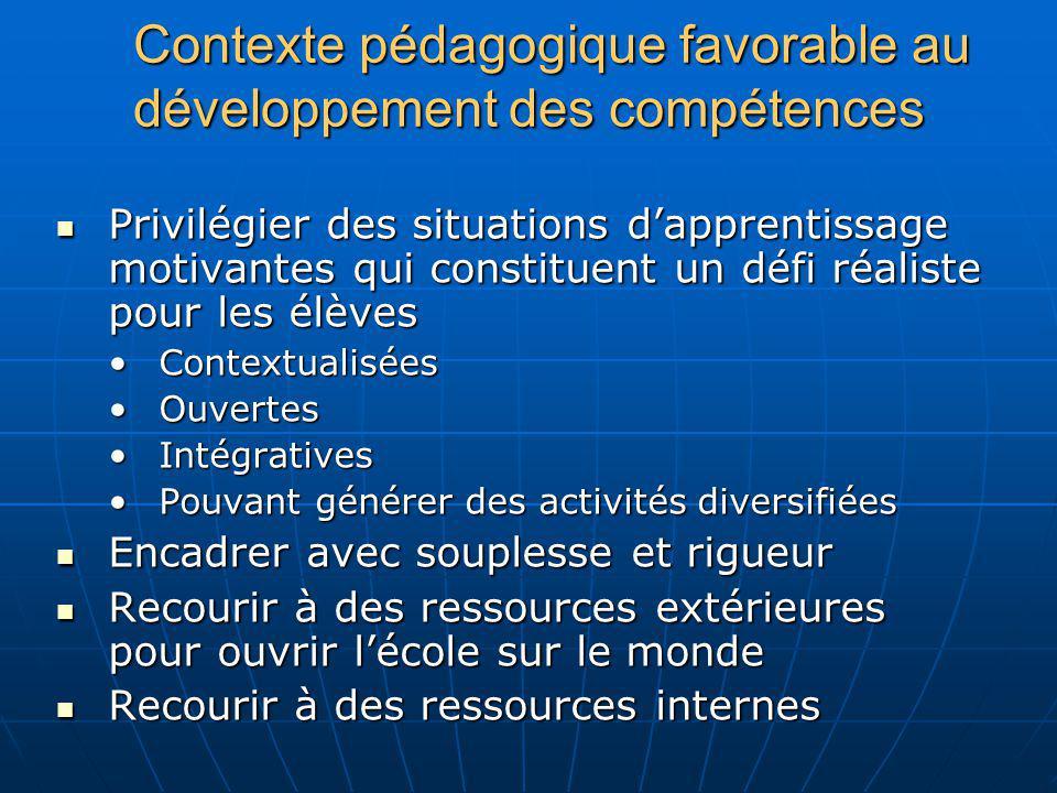 Contexte pédagogique favorable au développement des compétences Privilégier des situations dapprentissage motivantes qui constituent un défi réaliste