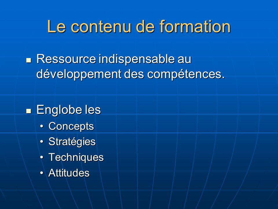 Le contenu de formation Ressource indispensable au développement des compétences. Ressource indispensable au développement des compétences. Englobe le