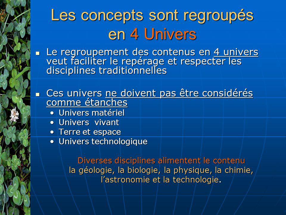 Les concepts sont regroupés en 4 Univers Le regroupement des contenus en 4 univers veut faciliter le repérage et respecter les disciplines traditionne