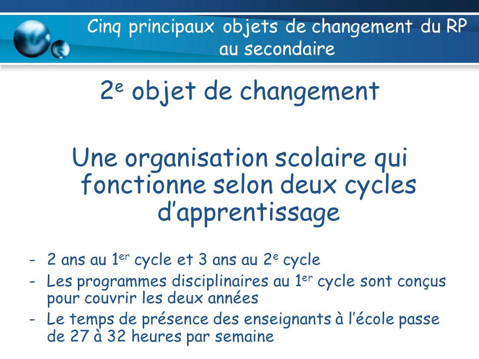 Cinq principaux objets de changement du RP au secondaire 2 e objet de changement Une organisation scolaire qui fonctionne selon deux cycles dapprentis