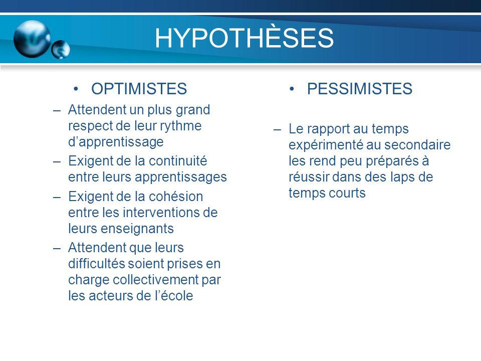 HYPOTHÈSES OPTIMISTES –Attendent un plus grand respect de leur rythme dapprentissage –Exigent de la continuité entre leurs apprentissages –Exigent de