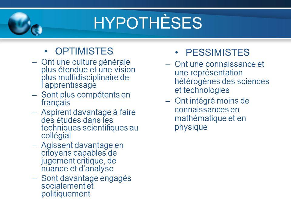HYPOTHÈSES OPTIMISTES –Ont une culture générale plus étendue et une vision plus multidisciplinaire de lapprentissage –Sont plus compétents en français