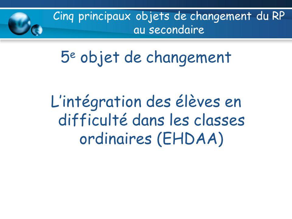 Cinq principaux objets de changement du RP au secondaire 5 e objet de changement Lintégration des élèves en difficulté dans les classes ordinaires (EHDAA)