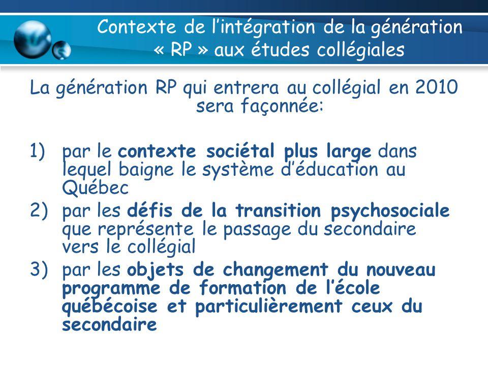 Contexte de lintégration de la génération « RP » aux études collégiales La génération RP qui entrera au collégial en 2010 sera façonnée: 1)par le cont