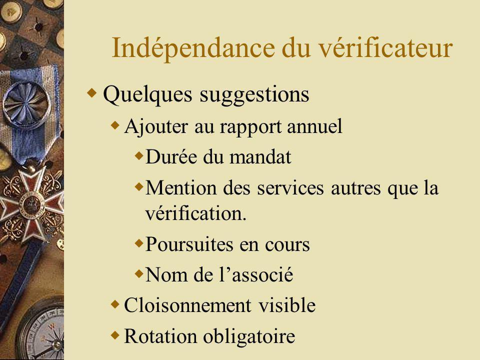 Indépendance du vérificateur Quelques suggestions Ajouter au rapport annuel Durée du mandat Mention des services autres que la vérification.
