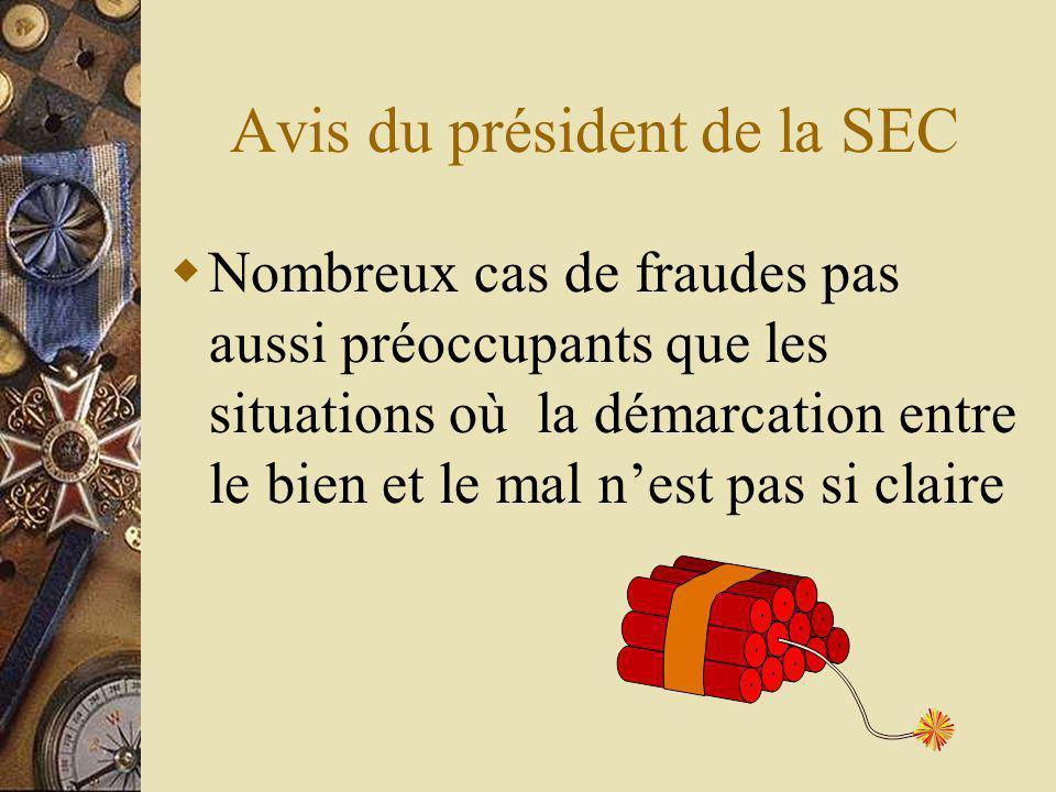 Avis du président de la SEC Nombreux cas de fraudes pas aussi préoccupants que les situations où la démarcation entre le bien et le mal nest pas si claire
