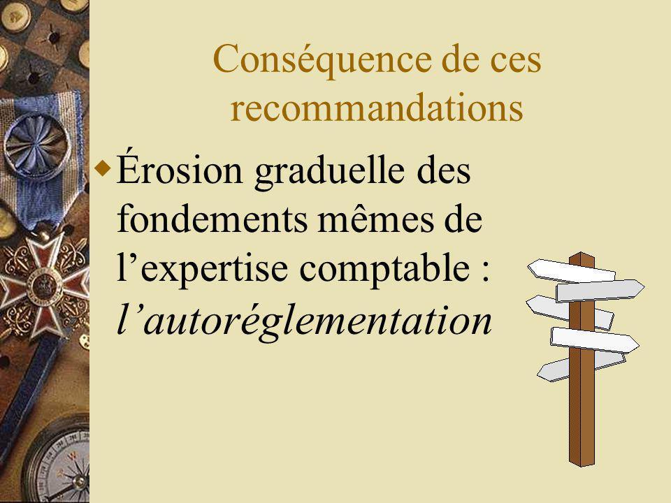 Conséquence de ces recommandations Érosion graduelle des fondements mêmes de lexpertise comptable : lautoréglementation