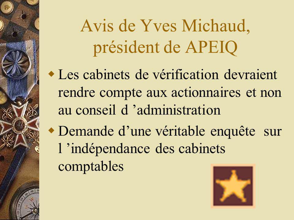 Avis de Yves Michaud, président de APEIQ Les cabinets de vérification devraient rendre compte aux actionnaires et non au conseil d administration Demande dune véritable enquête sur l indépendance des cabinets comptables