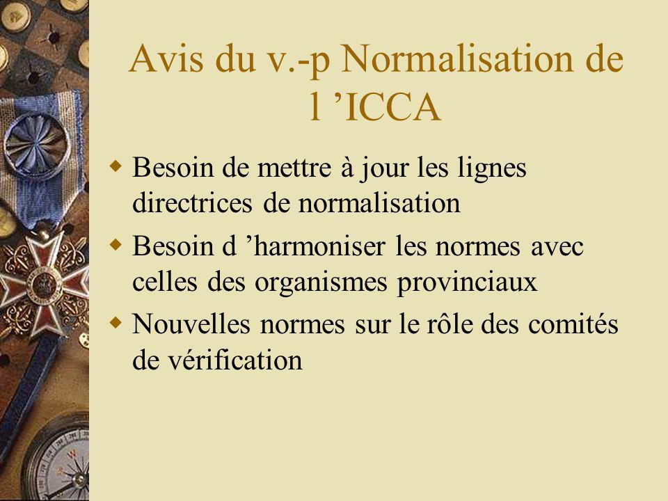 Avis du v.-p Normalisation de l ICCA Besoin de mettre à jour les lignes directrices de normalisation Besoin d harmoniser les normes avec celles des organismes provinciaux Nouvelles normes sur le rôle des comités de vérification